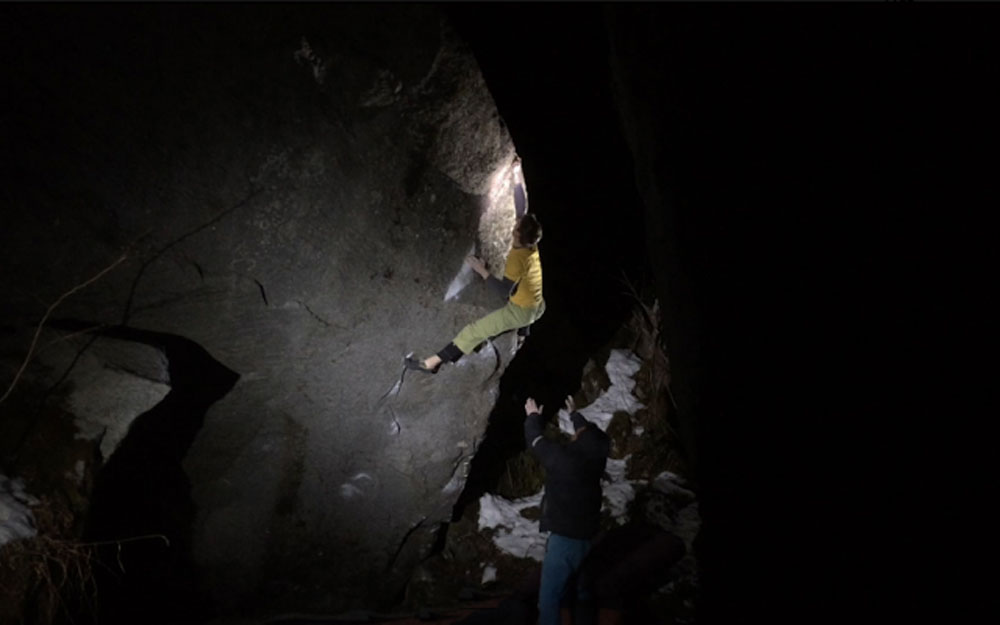 Keller on the first ascent of Heritage in Valle Bavona. Photo courtesy of Angela Wagner.
