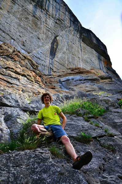 """Adam Ondra with <em>Cabane au Canada</em> (5.14d) in the background. Photo by Inka Matouskova"""" />Recently, Adam Ondra became the second ever to onsight a 9a (5.14d). The route was <em>La Cabane au Canada</em> at Rawyl, Switzerland.</p> <p>I had a chat with him at the trade show at Friedrichshafen, and it was very obvious he was really happy to finally have reached his goal of onsighting 9a.<span style="""