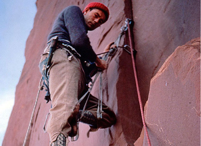 Layton Kor on the first ascent of Monster Tower, Canyonlands, in 1963. Courtesy Layton Kor collection.