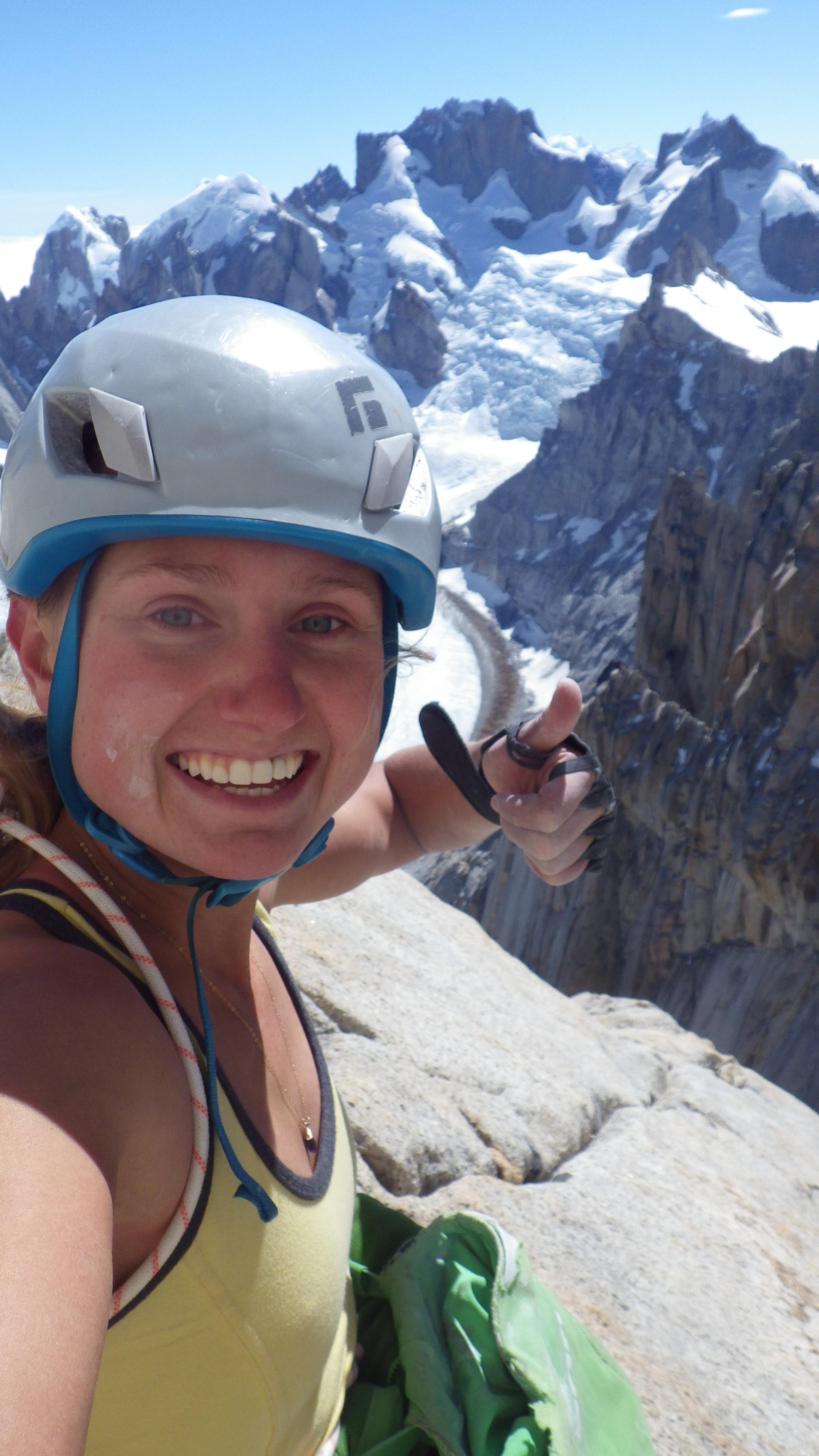 Brette Harrington takes a selfie near the top of Aguja Saint-Exupery on Chiaro di Luna (5.11a). Photo courtesy of Harrington.
