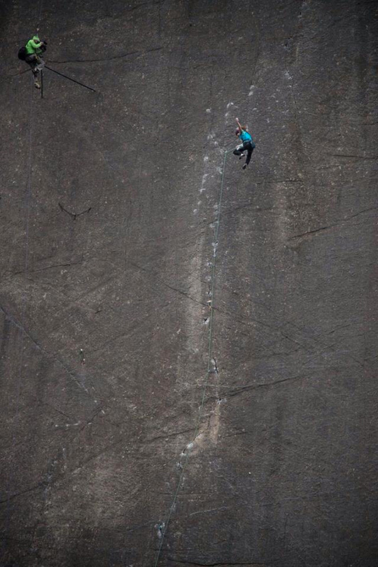 Barbara Zangerl falling near the end of <em>Prinzip Hoffnung</em> (5.14a). Photo by Richard Felderer&#8221; />Barbara &#8220;Babsi&#8221; Zangerl has made an impressive third ascent of the tenuous trad route <em>Prinzip Hoffnung</em> (5.14a) in&nbsp;B&uuml;rser Platte, Austria. The 25-year-old Zangerl, who lives just a 15-minute walk from the base of the route, often worked on the climb after her shift at the local hospital.&nbsp;</p> <p>&#8220;I started trying it on toprope at the end of January and the initial sensations were immediately very good,&#8221; Zangerl told Planet Mountain in an interview. &#8220;I even got really close to sending it on my first ground-up attempt a couple of weeks ago. But then I started to fall off the same section, again and again &#8230;&#8221;</p> <p>Falling off of <em>Prinzip Hoffnung</em> is not something to be taken lightly. In fact, Zangerl opted to climb the first 25 feet of the route without any pro because she says &#8220;the only nuts you can place are so small they probably wouldn&#8217;t hold a fall.&#8221;&nbsp;&nbsp;<em>Prinzip Hoffnung</em>, which was first climbed in 2009 by the legendary Austrian Beat Kammerlander and then repeated by Italian Jacopo Larcher last month, consists of an extremely technical slab that joins two small cracks. The cracks are protected with small wires, which Zangerl had little previous experience with.</p> <p><img src=