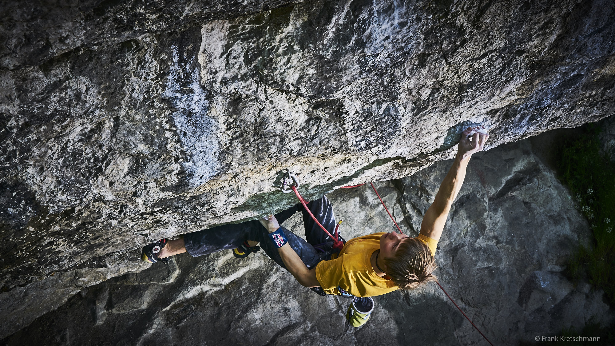 """Alex Megos on <em>Hubble</em> (8c+/5.14c) at Raven Tor. Photo courtesy of Frank Kretschmann."""" title=""""Alex Megos on <em>Hubble</em> (8c+/5.14c) at Raven Tor. Photo courtesy of Frank Kretschmann."""" style=""""float: right; margin: 0px 0px 10px 10px;""""><strong>Alex Megos, 22, </strong>has     redpointed Ben Moon's famous <em>Hubble </em>(8c+/5.14c) at Raven Tor in the Peak District, U.K. He is the first non-British climber to have repeated     the route.</p> <p>Moon established <em>Hubble </em>on June 4, 1990 as the world's first 8c+ (5.14c)—far ahead of its time—and some climbers consider it to be     even harder.</p> <p>""""8c+, 9a+ or 8b+. Who cares?! It's the name that counts! And the name is HUBBLE!"""" Megos posted on Instagram after his ascent. """"It's a piece of history!     Thanks Ben Moon for putting up that thing and for having a vision! A vision for what is possible, the next step!""""</p> <p>The line is only eight meters in length but it packs a punch. The steep, Derbyshire limestone has shut down some of the world's top climbers, including     Adam Ondra, Dave Graham and Sean McColl, according to <a href="""