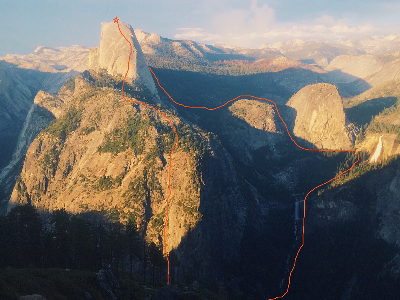 Dean Potter's Half Dome FKT route. [Photo courtesy of Jennifer Rapp]