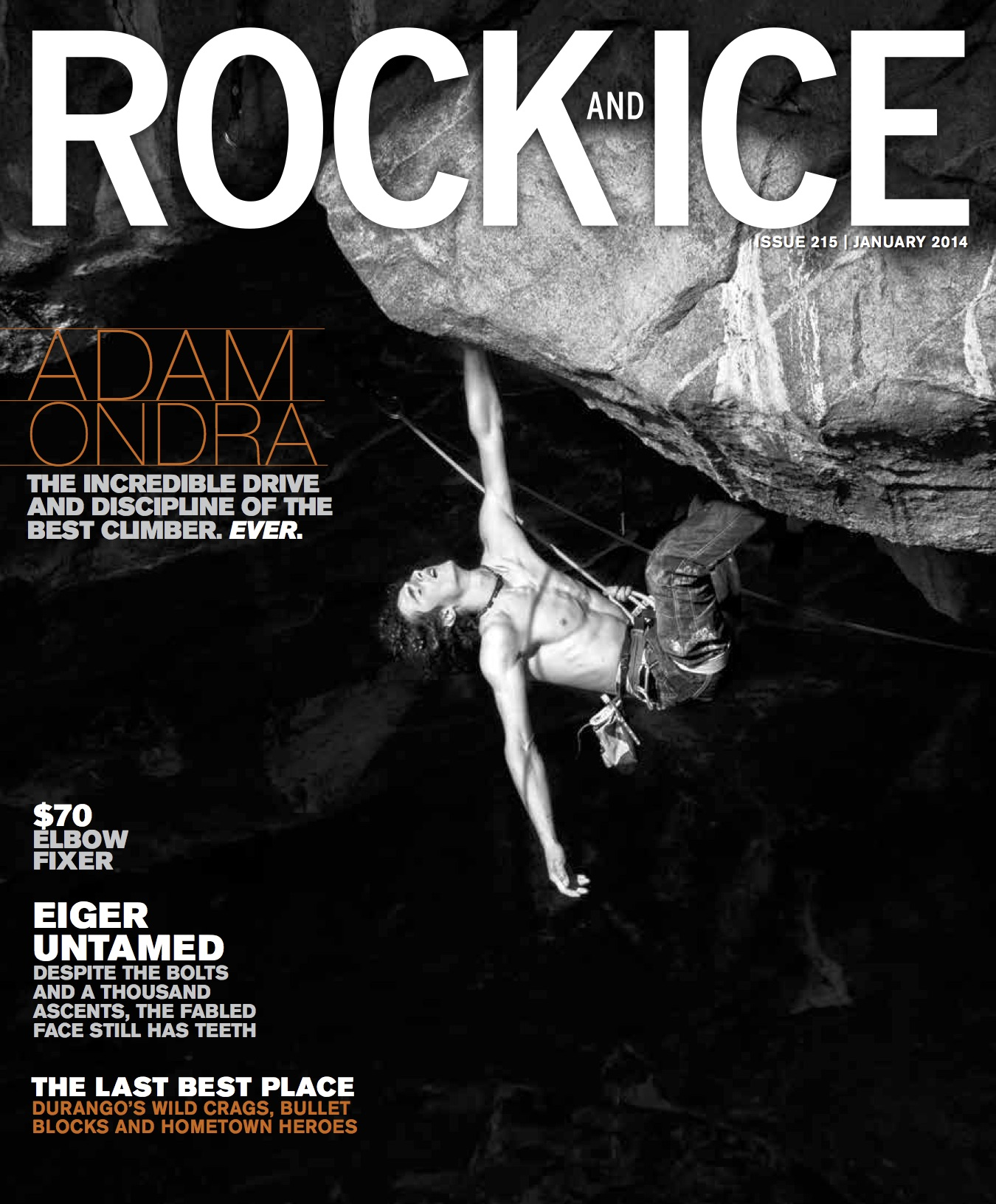 Adam Ondra catches a marginal rest on <em>Move</em> (5.15b) in the Hanshelleren Cave, Flatanger, Norway, on the cover of <em>Rock and Ice</em> issue 215 (January 2014). Cover photo: <a target=