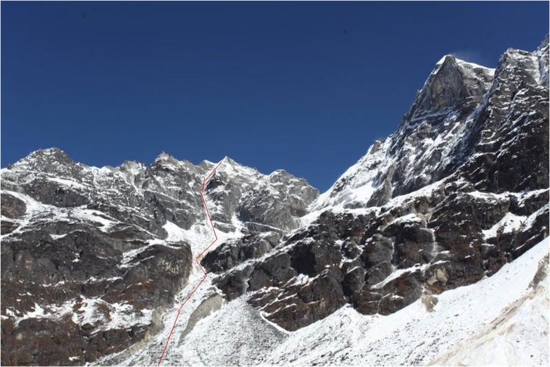 Colombian Direct follows the red line up the couloir on the South Face.