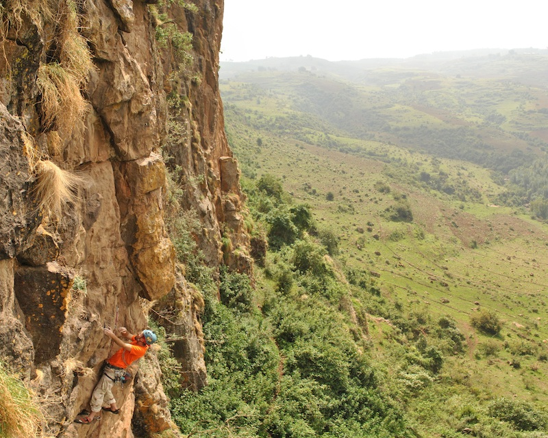 The author enjoying some steep climbing in Ethiopia. Photo by Matt Roberts.