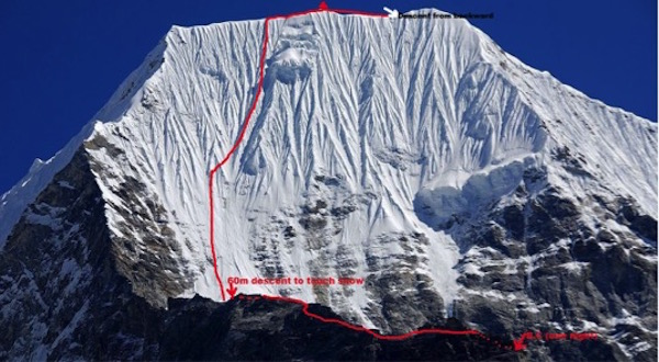 """<em>Dorjee Sherpa Route</em> on the West Face of Mt. Chobuje (6,685m), FA: Mingma Sherpa, October 28, 2015. Photo courtesy of Mingma Sherpa."""" title=""""<em>Dorjee Sherpa Route</em> on the West Face of Mt. Chobuje (6,685m), FA: Mingma Sherpa, October 28, 2015. Photo courtesy of Mingma Sherpa."""" style=""""float: right; margin: 0px 10px 10px 0px;""""><strong>Mingma named his route</strong> on the West Face of Mt. Chobuje <em>Dorjee Sherpa Route</em>    in memory of his father.</p> <p>In reference to <a href="""