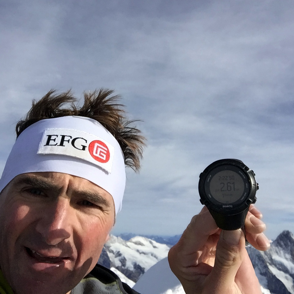 On the summit - time: 2 hours 22 minutes 50 seconds. Photo courtesy of Ueli Steck.