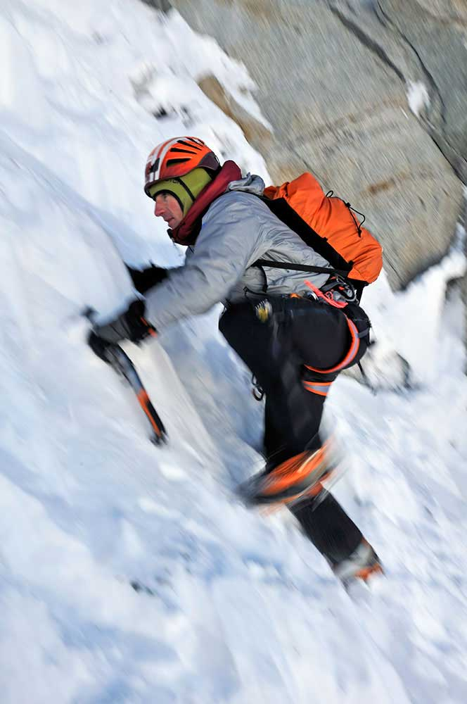 The Swiss Machine soloing the Eiger North Face in 2008. Photo: Robert Boesch.