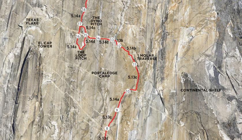 Pitches 9 through 18 of the <em>Dawn Wall</em>, El Capitan, Yosemite. <a target=