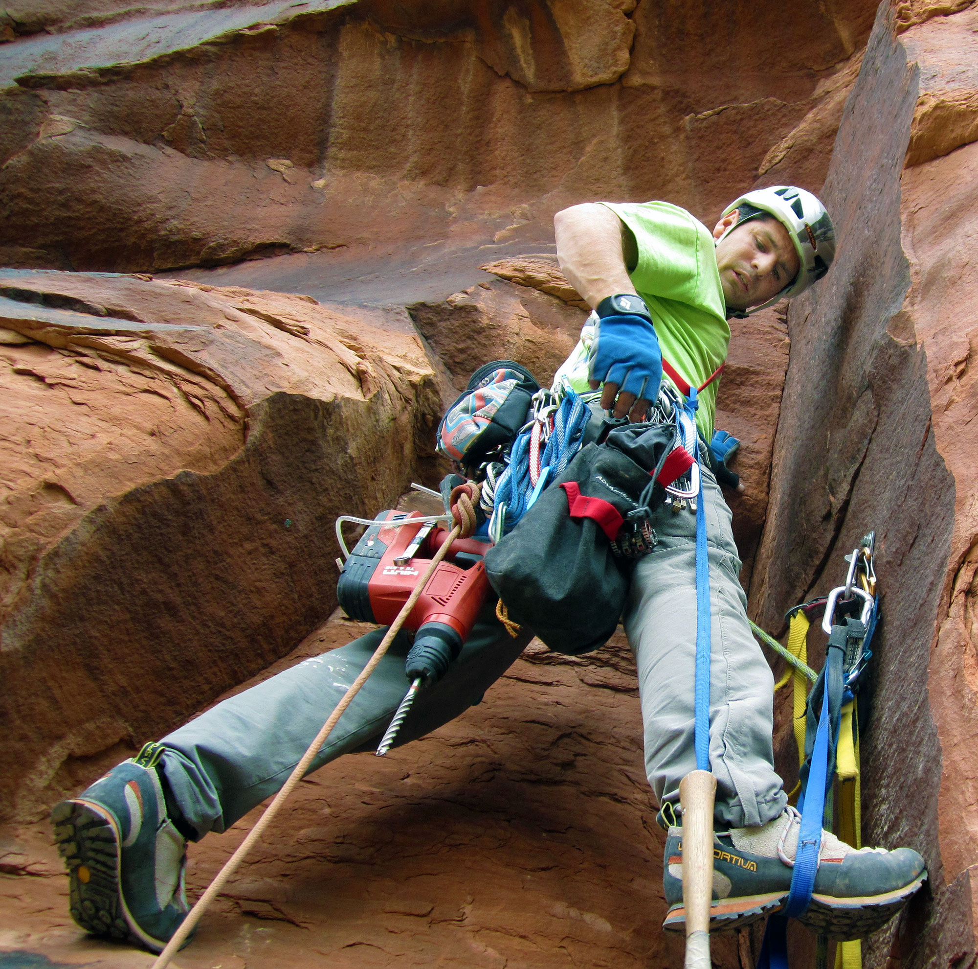 Marcus works a new route at Falcon Hatch, Utah. Photo: Marcus Garcia collection.