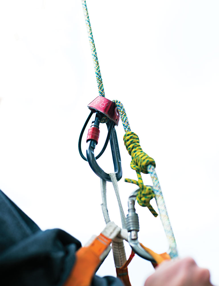 A simple rappel back-up can save the day. Tie either a prusik (shown) or klemheist on the rope below your device, and clip the back-up to a leg loop (or extend the rappel device with a sling).Make certain that the prusik is short enough so it can't get sucked into the rappel device. When you rappel, hold the prusik in your brake hand; it'll slide down and lock, stopping the rappel if you let go.