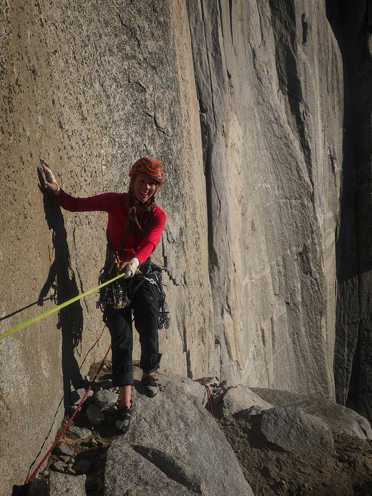 Libby Sauter leadiing off of Dolt Tower. Photo by James Lucas.