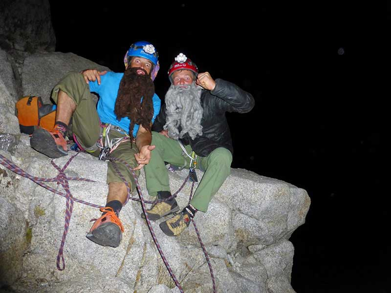Whittaker (right) and Randall clowning on El Cap during their free ascent of El Cap. Photo courtesy of the <a target=