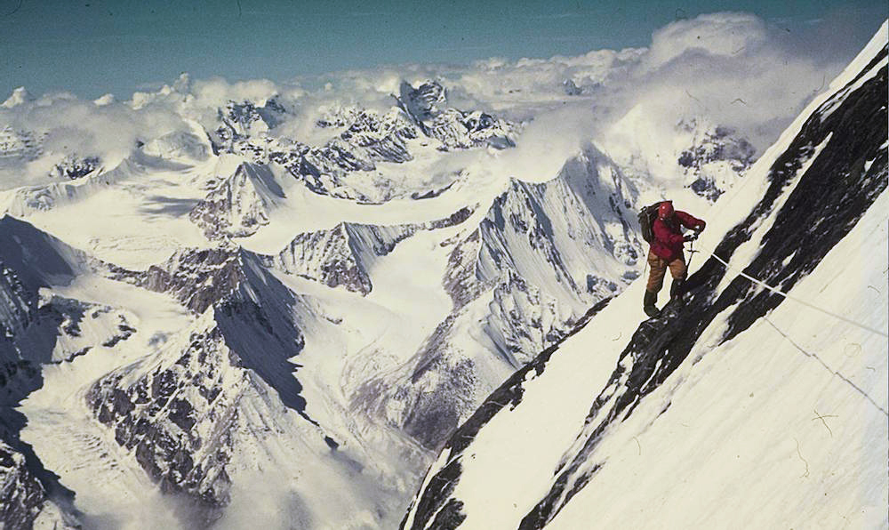 Climbing on the South Face of Makalu at 7500 meters. Photo: Viki GroClimbing on the South Face of Makalu at 7500 metres. Photo: Viki Grošelj collection.