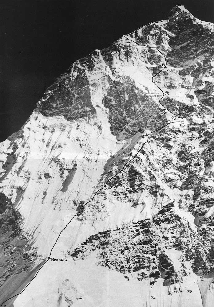 The South Face of Makalu with high points of various attempts, including the successful 1975 ascent. <br />Photo: Aleš Kunaver collection.