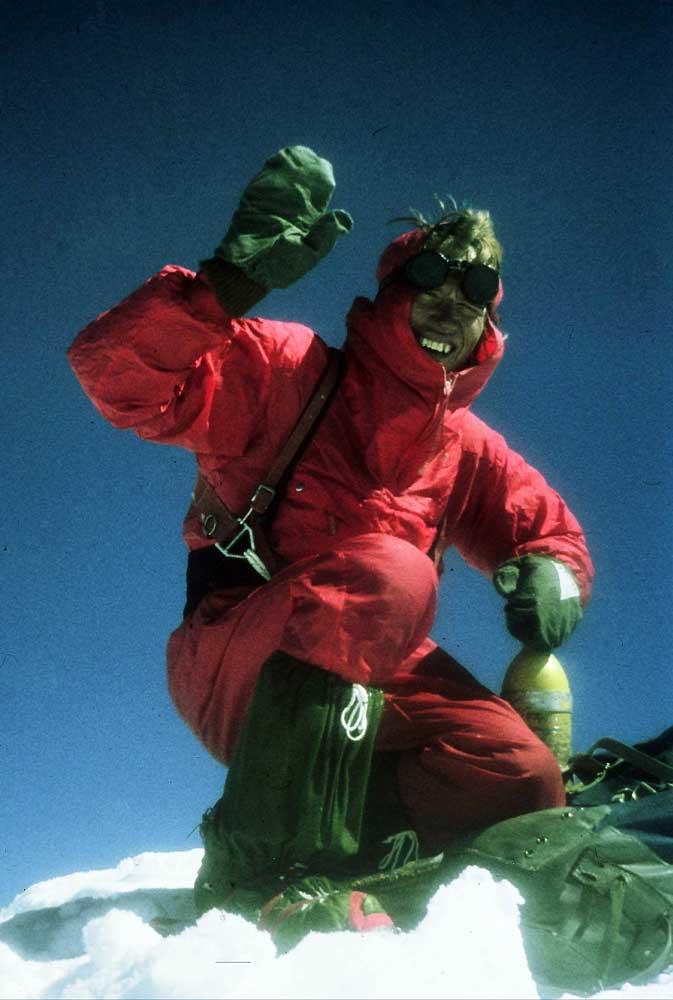Nejc Zaplotnik on the summit of Makalu in 1975, having just climbed the South Face. Photo: Nejc Zaplotnik collection.