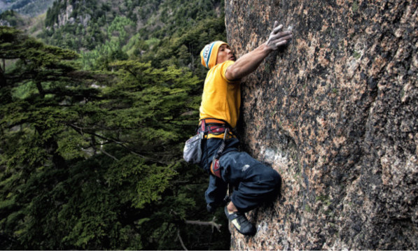 At 43 Yuji Hirayama is still pushing to become a better climbing in part by refining his already masterful technique, as seen here on <em> Cafecito Necesito </em>(5.14b/c), Mizugaki, Japan.
