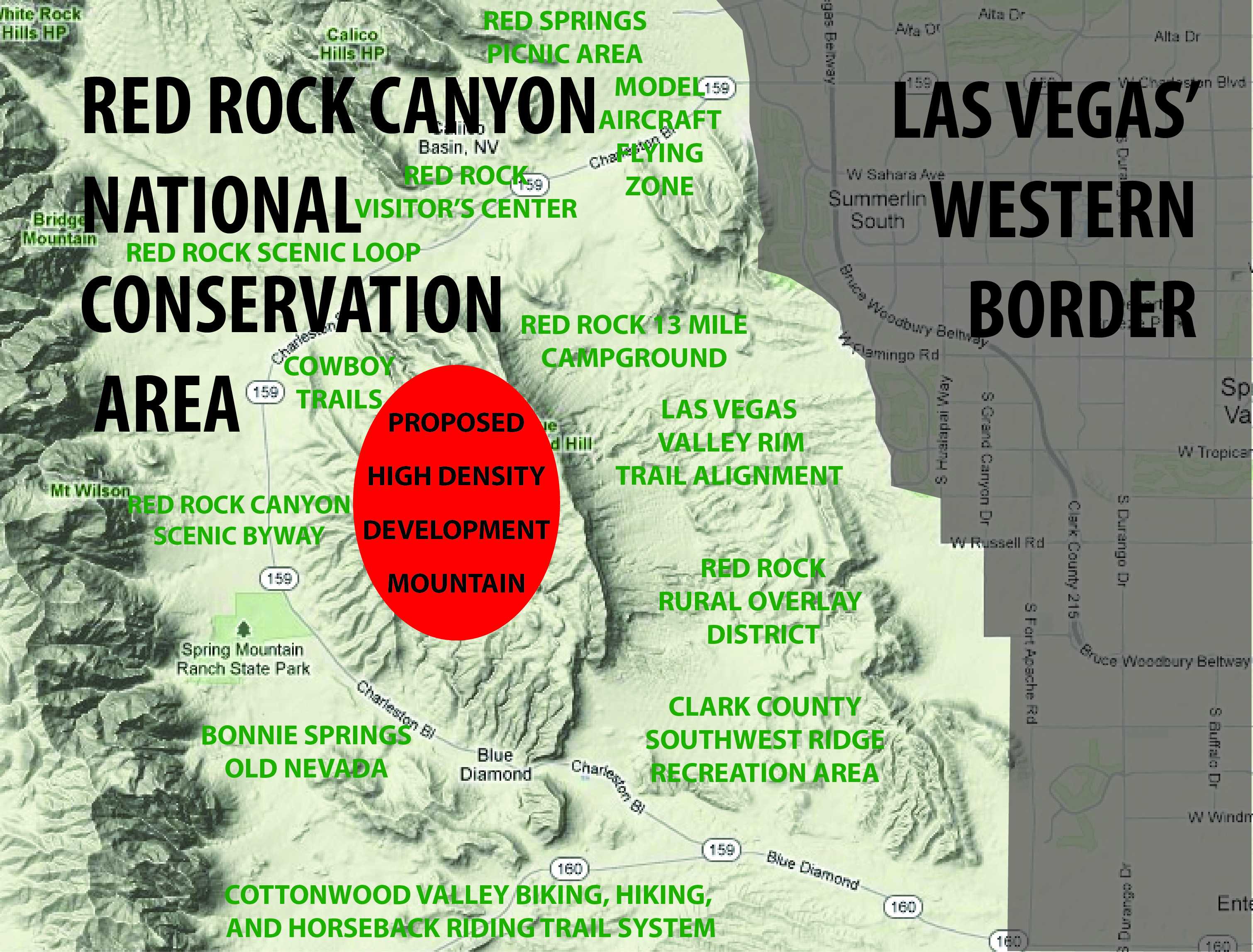Map of Red Rock Canyon and location of proposed high-density housing development. Photo: Save Red Rock Coalition.