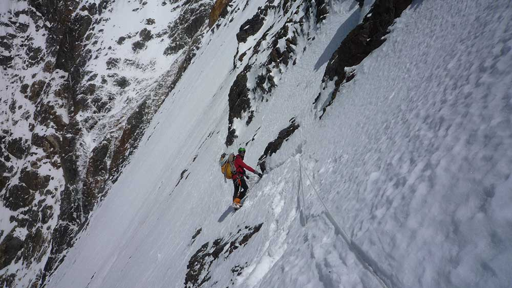 Zangrilli fixing lines on the traverse at 6,200 meters on K2, 2011. Photo courtesy of Zangrilli.