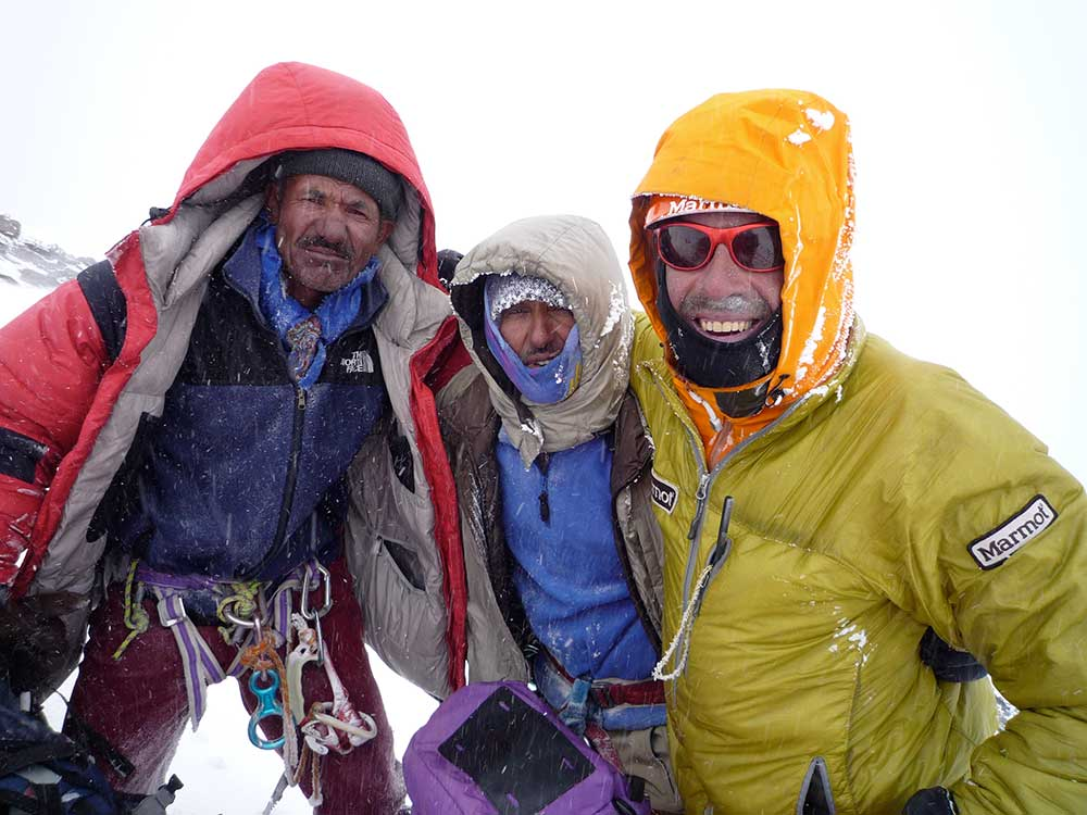 Zangrilli, with Ali and Mohammad at 7,100 meters after another day of fixing rope on K2. Photo courtesy of Zangrilli.