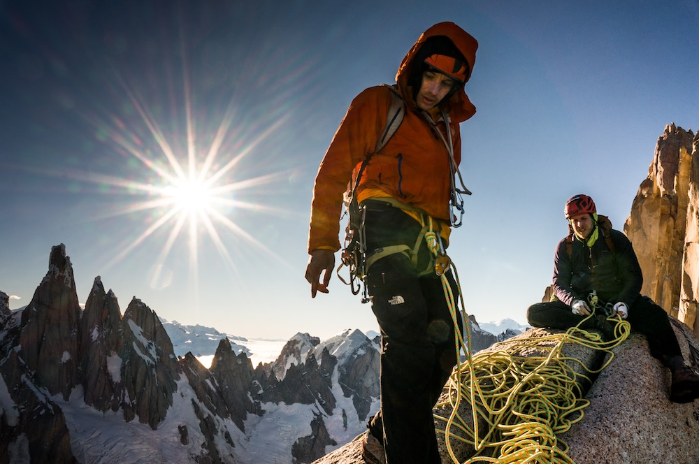 Alex Honnold and Tommy Caldwell on the Fitz Traverse, Patagonia. Photo: Austin Siadak.
