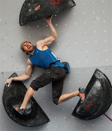Peter Dixon (USA) snarling up Semi-Final problem three at the 2015 IFSC Bouldering World Cup in Vail, Colorado. Photo: Liz Haas.