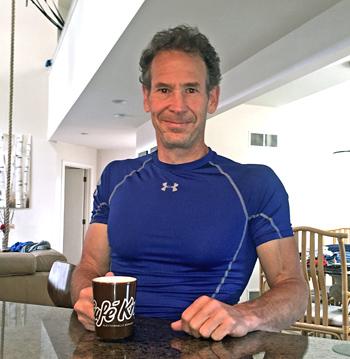 The author, at home, enjoying a pre-workout Café! Photo courtesy of Eric Hörst.