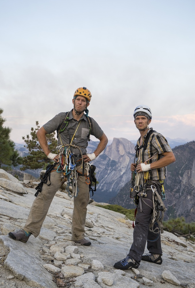 Wilkinson (right) and Lusk (left) celebrating their record setting Brooklyn-El Cap time at the summit. Photo: Cheyne Lempe / Mountain Hardwear.