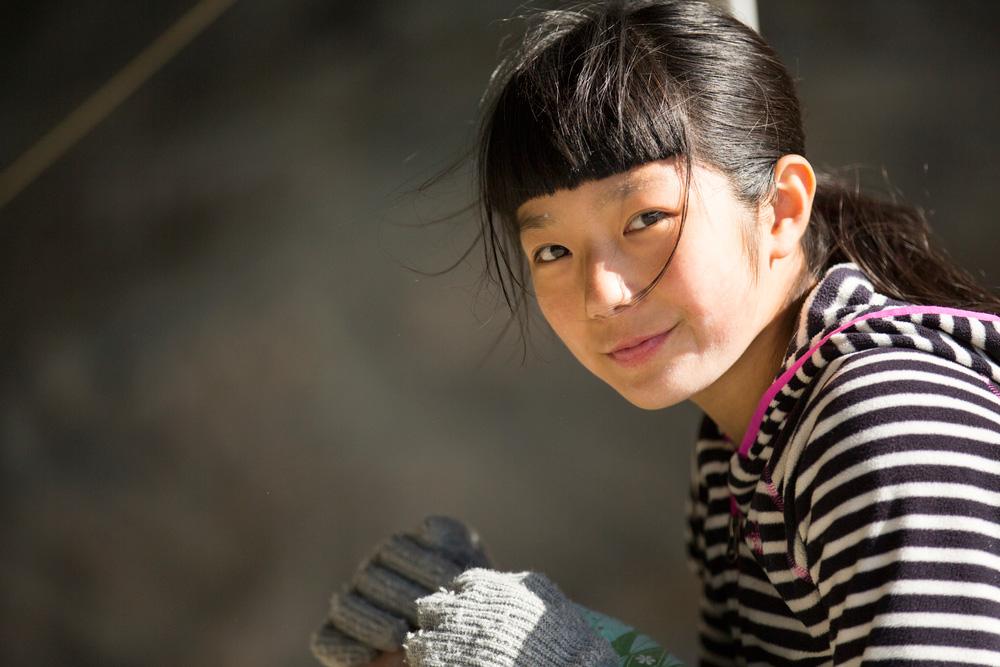 Ashima Shiraishi in the Flatanger Cave, Norway. Photo: Brett Lowell.