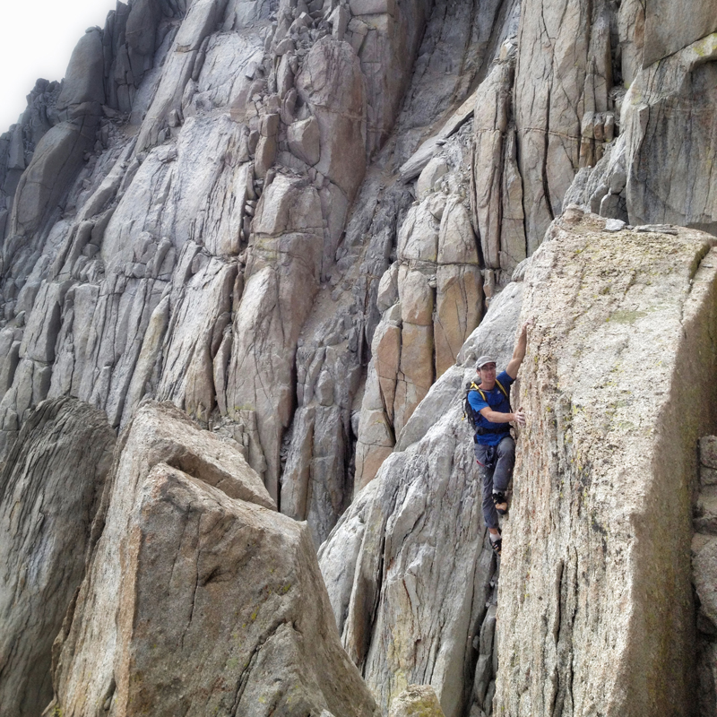 Cedar Wright climbing on Mt. Langley. Photo by Alex Honnold.