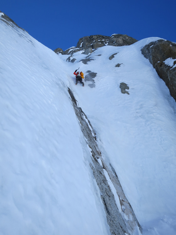 Griffith begins the Lagarde Direct on the Northeast Faces of Les Droites. Photo: Alpineexposure.com