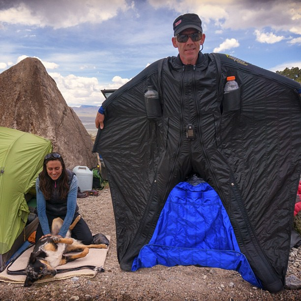Mario Richard, with Steph Davis, at Notch Peak, Utah. Richard died yesterday while wingsuit flying in the Dolomites of Italy. Photo by Andrew Bisharat