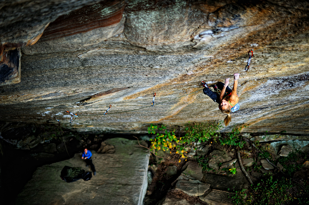 DiGiulian on <em>Pure Imagination</em> (5.14d), the Red River Gorge, climbed in her typical six-try style. She is the first American woman to climb the grade. Photo: Keith Ladzinski.