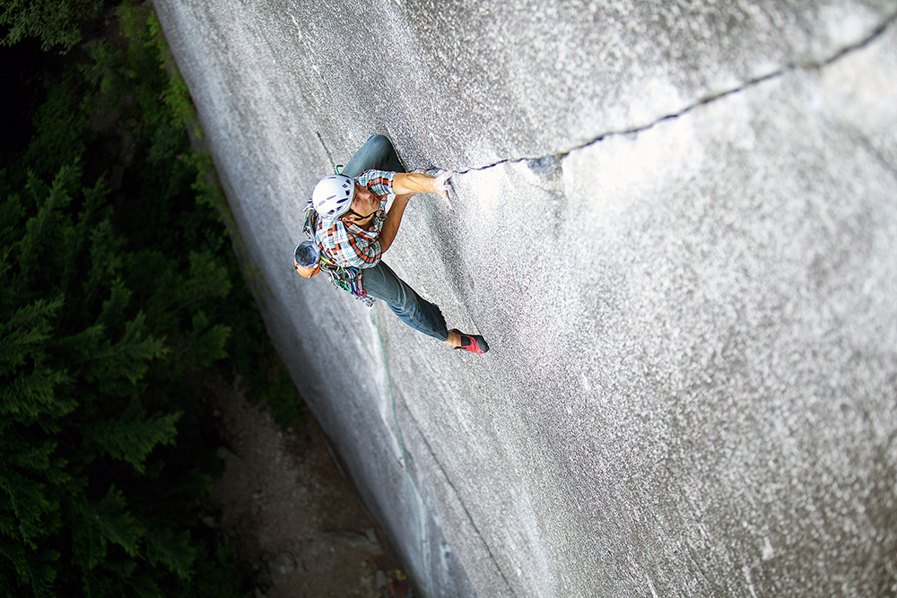 Trotter locked in on <em>Exasperator Crack</em>, his vote for the best 5.10 in the world. Photo: Paul Bride.