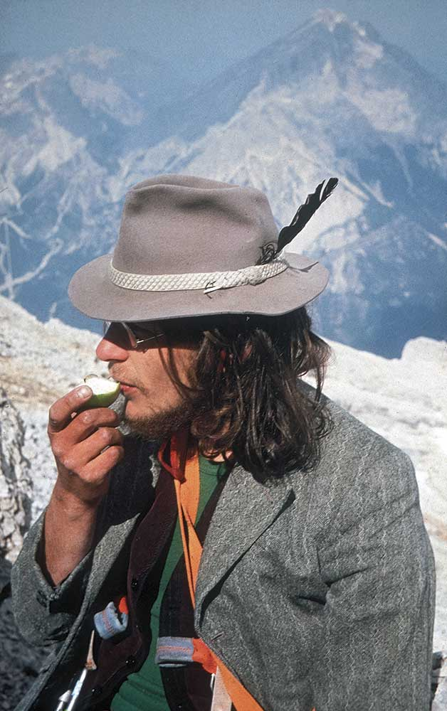 Mariacher on the summit of Monte Pelmo, Dolomites, Italy, in 1977. Photo: Egon Wurm.
