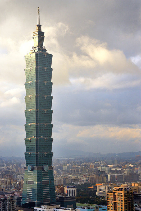 The Taipei 101 is the world's second tallest skyscraper.