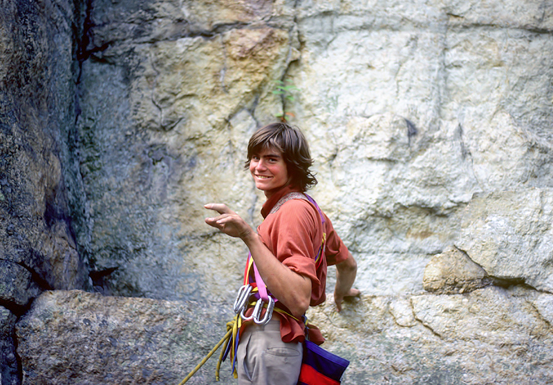 Alex at the base of a climb in El Dorado, 1982
