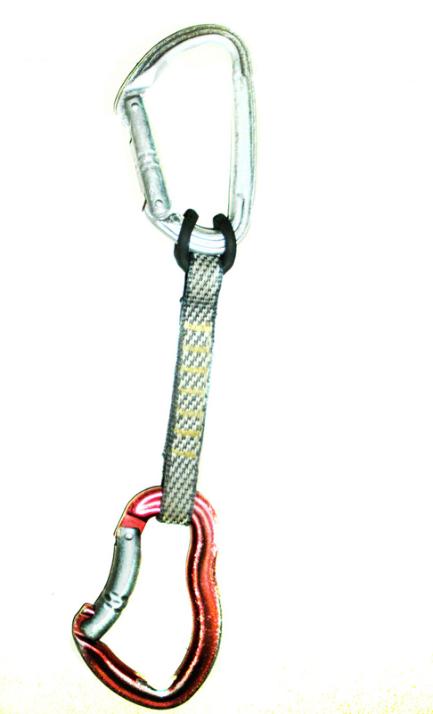 The INCORRECT ATTACHMENT of the sewn sling to only the rubber keeper. The sling is NOT ATTACHED to the carabiner.