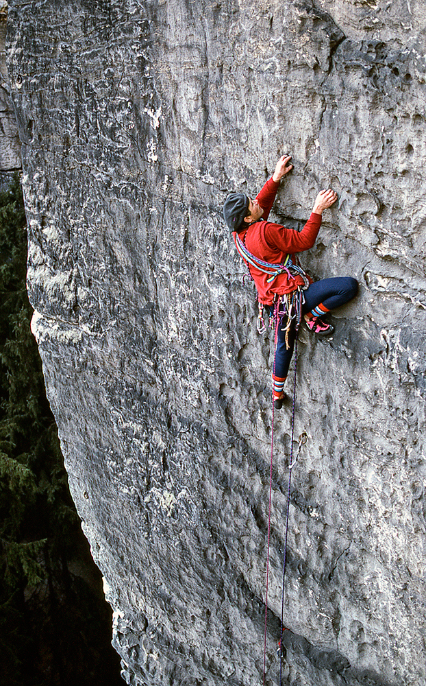Bernd Arnold, a leading Saxony climber, establishes a first ascent on the histoical sandstone walls of the Eldsandstein, near Dresden, Germany. Rock climbing, as we think of it, began here well over a hundred years ago. Photo: Duane Raleigh.