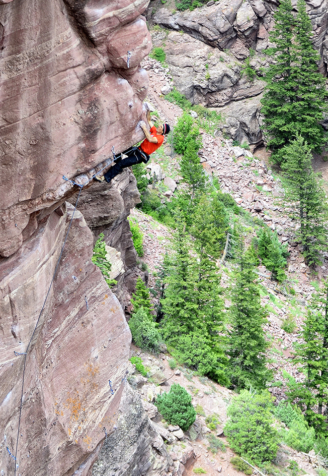 The author, with a new awareness of access issues, climbing outside Carbondale, Colorado.