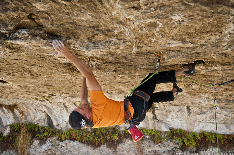 Nick Duttle on another Rupesh Chhagan test piece <em>Dharma Gate</em> (5.14b/c). Photo: <a target=