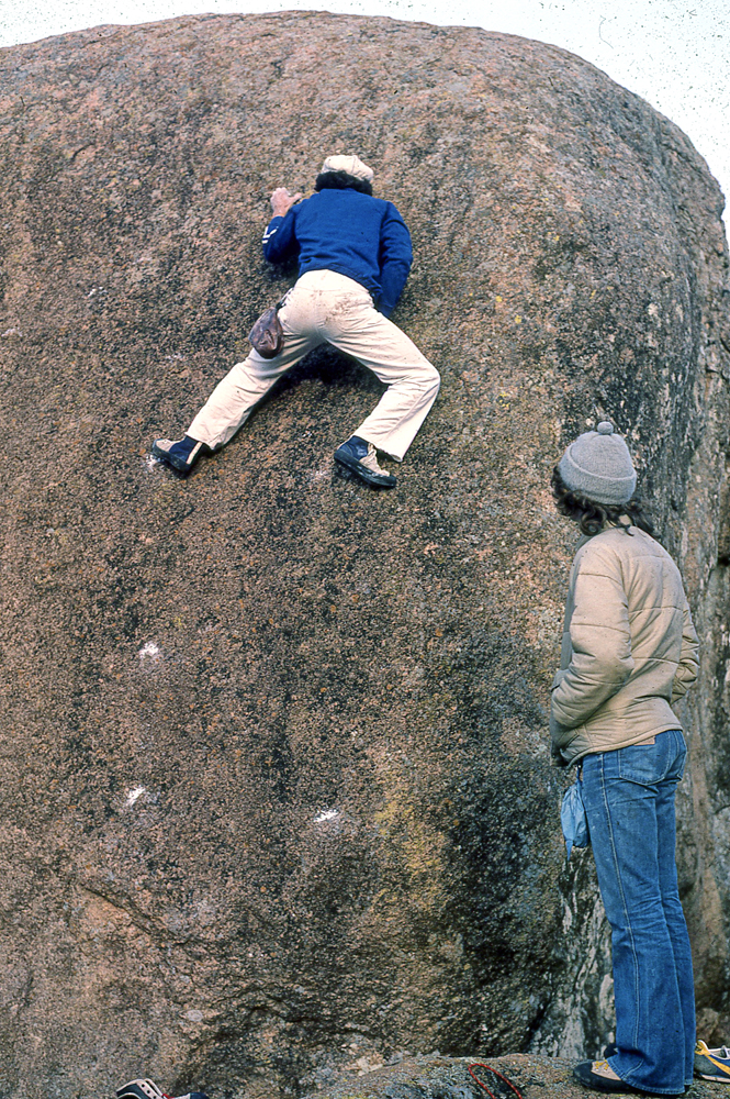 Bouldering with Donnie Hunt, on the Steak Dinner Boulder, Wichita Mountains, sometime in the late 1970s. This was an early outing for our newly purchased E.B.s.