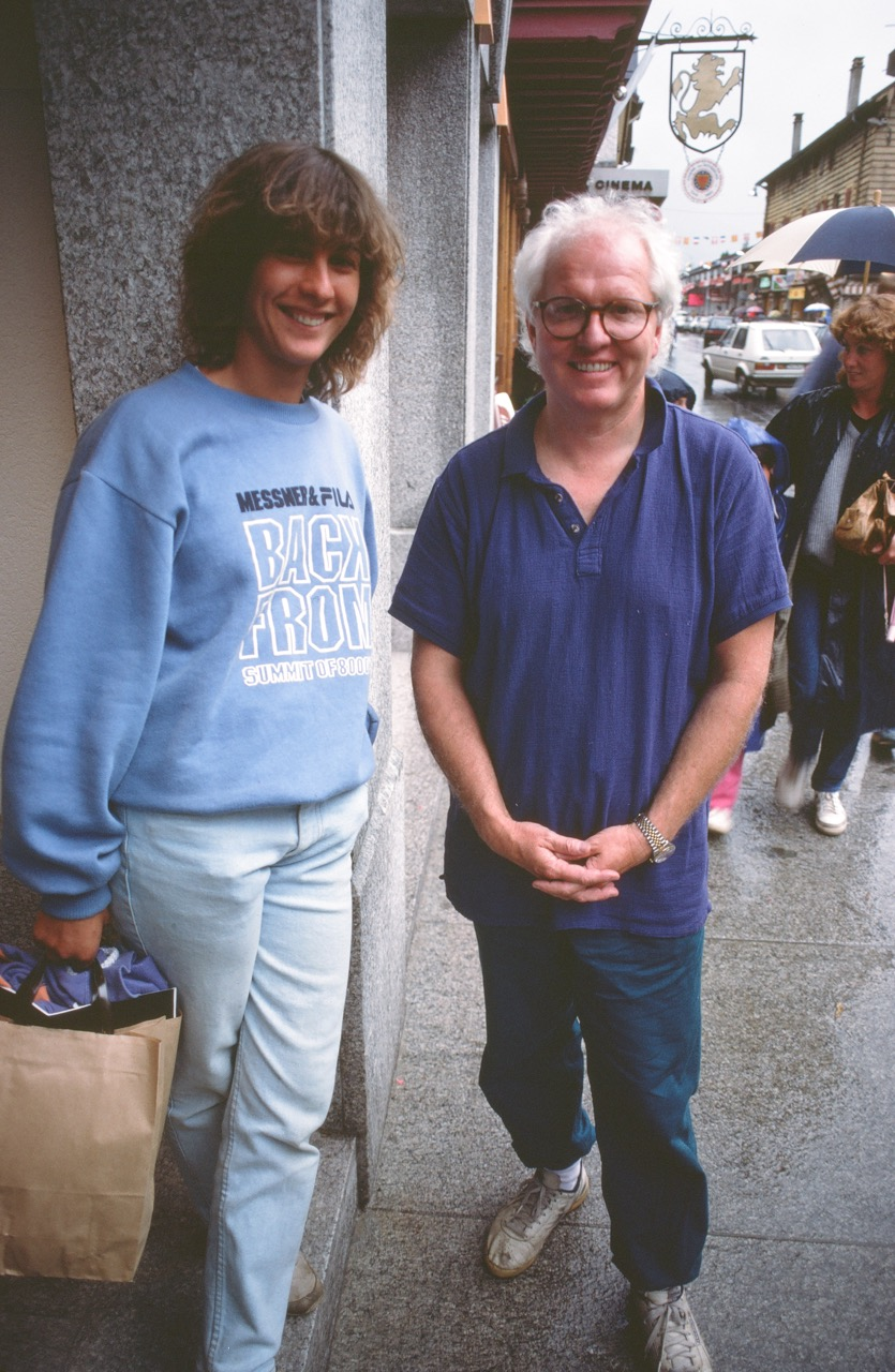 Tex Bossier (right) with Catherine Destivelle, Paris, 1987. Photo courtesy of Malinda Chouinard.