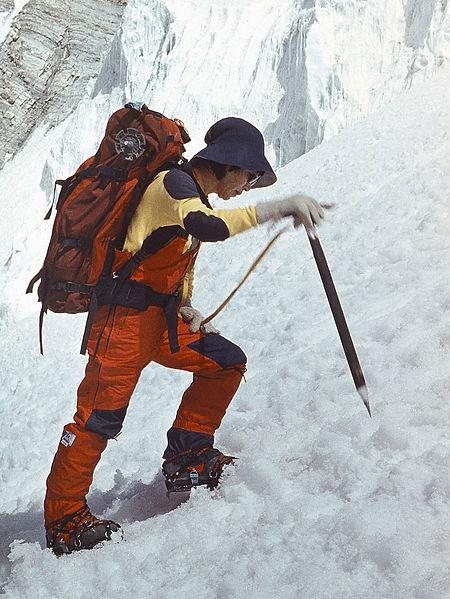 Junko Tabei in 1985 at Communism Peak (now known as Ismoil Somoni Peak). Photo by Jaan Künnap (Wikimedia Commons).