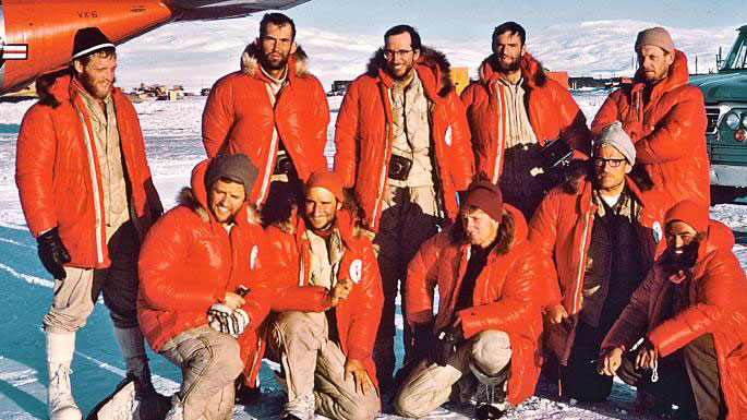 Mount Vinson team photo, 1966, Nick Clinch (team leader) center back row. All members reached the summit for its first ascent. Photo courtesy of the 1966 American Antarctic Mountaineering Expedition (AAME) / American Alpine Club.
