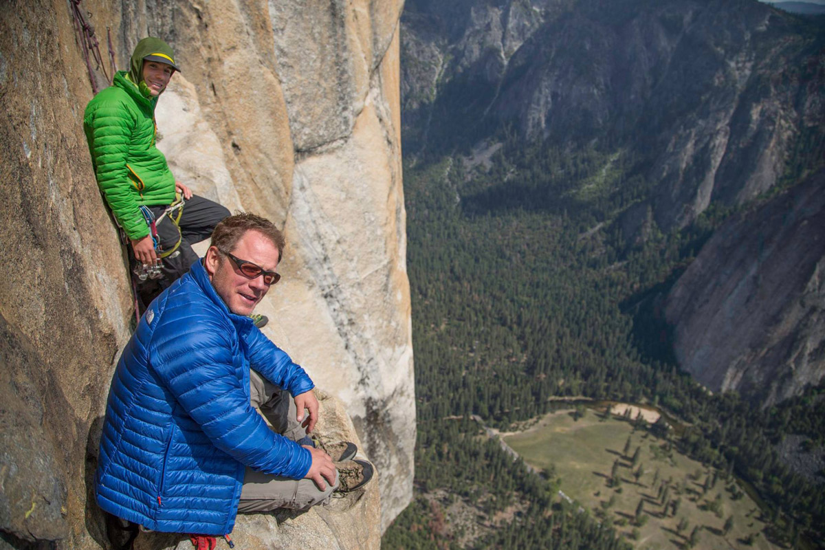 Mark Davis (front) and Alex Honnold above the headwall on the Salathé Wall, El Cap, Yosemite. Photo courtesy of Chris Noble.
