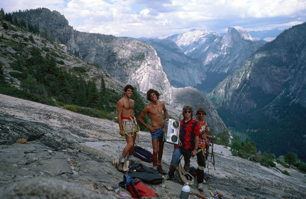 El Cap summit,1984: (left to right) a young Cory Dudley, Scott Cosgrove, Russ Walling and John Middendorf. Dudley and Cosgrove climbed the <em>Zodiac</em>, and Walling and Middendorf did <em>Iron Hawk</em>, all topping out at the same time. Photo courtesy of Russ Walling.